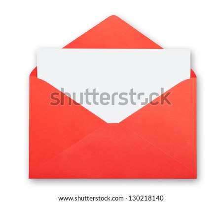 Red envelope isolated clipping path excludes the shadow.