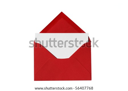 Red envelope with notecard blank for your copy