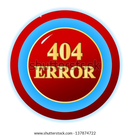 Red 404 error symbol on a white background