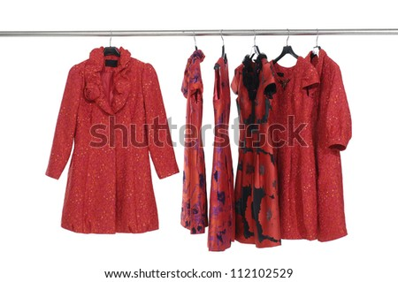 red evening gown on a clothesline