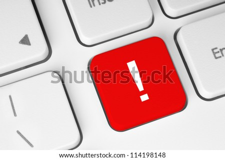 Red exclamation mark button on the keyboard