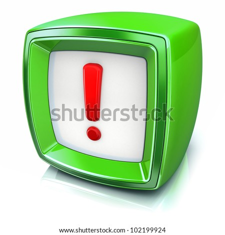 red exclamation symbol on green badge icon on white background. 3d render