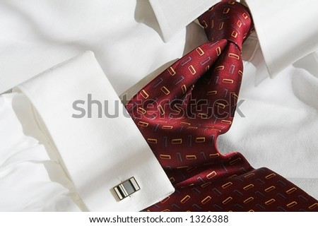 red executive shirt and tie with cuff-link