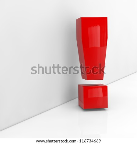Red exlamation mark in 3D leaning on a grey wall