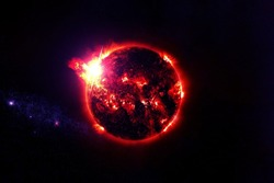 Red exoplanet in deep space. Elements of this image were furnished by NASA.