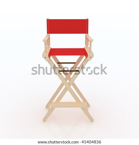 """Red Fabric Director""""s Chair on white background. Front View."""