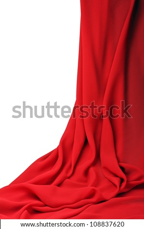 red fabric on a white background - stock photo