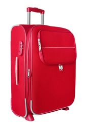 Red fabric travel suitcase with zipper and handle on white background isolated close up side view, large cloth baggage case, big textile luggage trolley bag, summer holidays concept, tourism, vacation