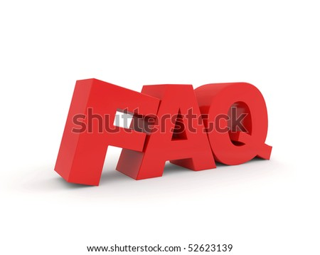 red FAQ text isolated on white background