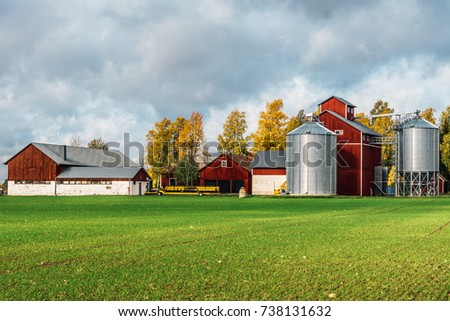 Red farm buildings with machines and silos. Red wooden barns, silver colored silos and a green field in front, shot taken on a beautiful sunny autumn day in Sweden