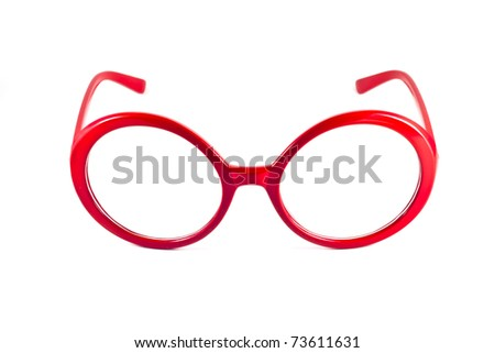red fashion glasses isolated on white