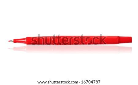 Red felt-tip pen, reflected on white surface.
