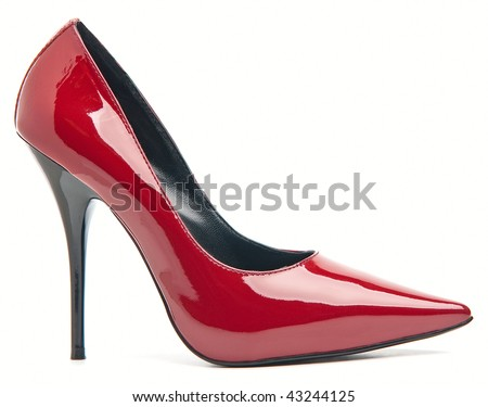 Red female shoes on a high heel. Isolated on white background