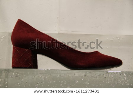 Red feminine velour shoe heels