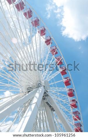 Red ferris wheel in navy pier, Chicago