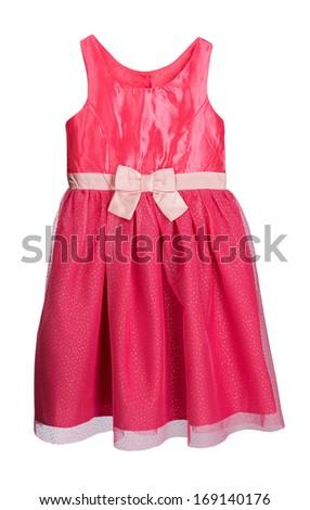 Red festive feminine dress. Isolate on white background.