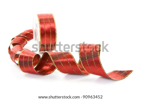 red festive ribbon  over a white background