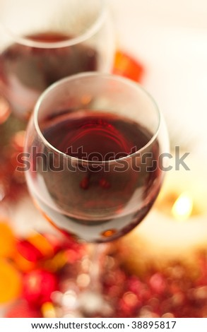 Red festive wine with shining lights - stock photo