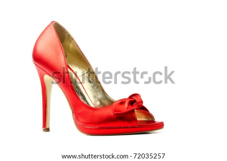 Red fetish women shoes isolated on white background. Women's accessories.