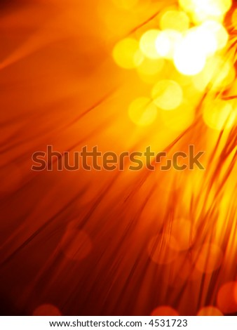 red fiber optics strands close-up