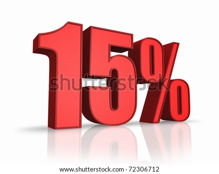 Red fifteen percent, isolated on white background. 15%