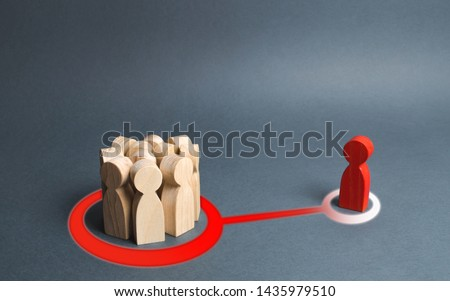 red figure of a man and a crowd of people are connected by an abstract line. crowd or the majority influences person. The imposition of rules and opinions of society, failure of initiatives and ideas.