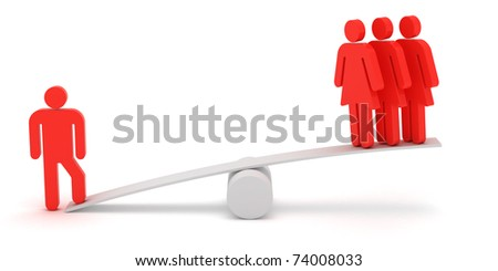 Red figures of man and woman on the scales
