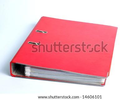 red file folder, ring binder, white background