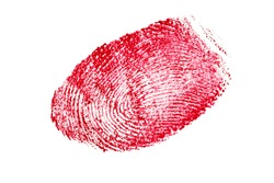 red fingerprint isolated on a white background