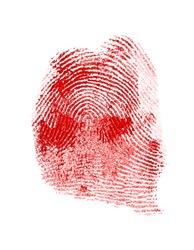 Red fingerprint on white paper