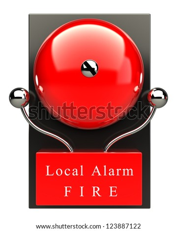 Red fire alarm bell. High resolution. 3D image