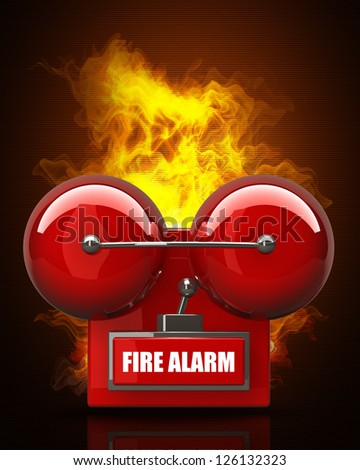 Red fire alarm bell in Fire. High resolution. 3D image