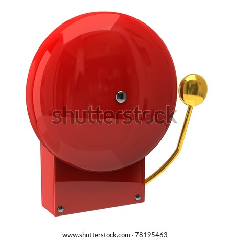 Red fire alarm isolated on white background