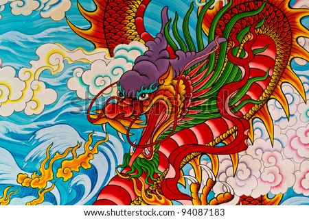 Red fire dragon painting in Chinese temple in Thailand
