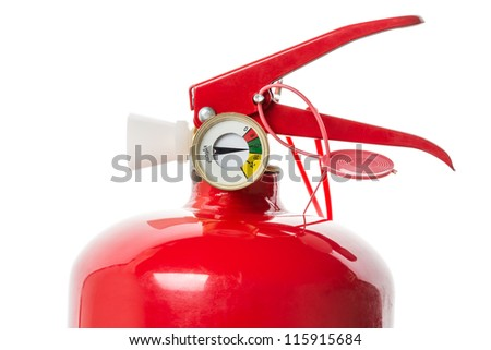 Red Fire Extinguisher closeup. Isolated on white background.