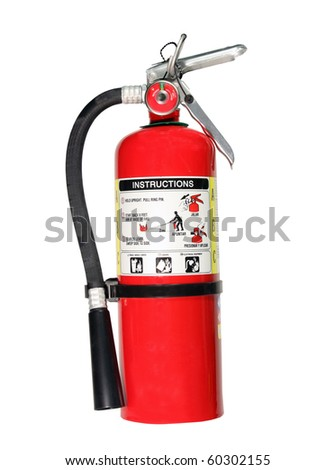 red fire extniguisher isolated with clipping path at this size