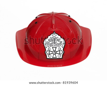 Red Fire Fighter Fireman Helmet Hat isolated on white background