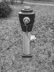 red fire hydrant, fire extinguishers, safety element black and white