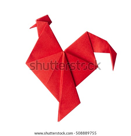 Red fire paper folded rooster handmade origami craft on white background isolated