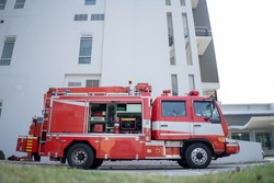 Red fire truck Park to standby For rescue missions