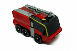 Red fire truck toys white background