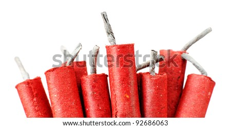Red Firecrackers isolated on white