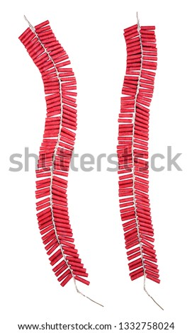 Red Firecrackers isolated on white background with clipping path. #1332758024