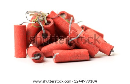 Red Firecrackers on white background #1244999104