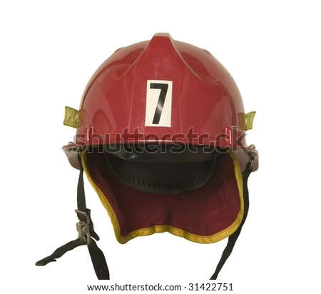 red fireman hat front isolated on white