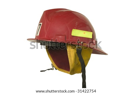 red fireman hat side isolated on white