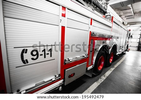 red firetruck details of the...