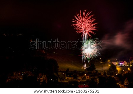 Red firework. Amazing fireworks, fireworks 2019, fireworks background, fireworks event, Celebration in the town. #1160275231