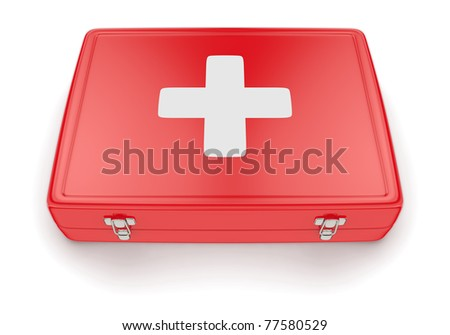Red first aid kit - stock photo