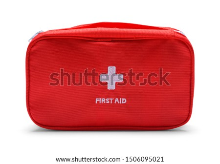 Red First Aid Kit Bag Front View Isolated on White. #1506095021